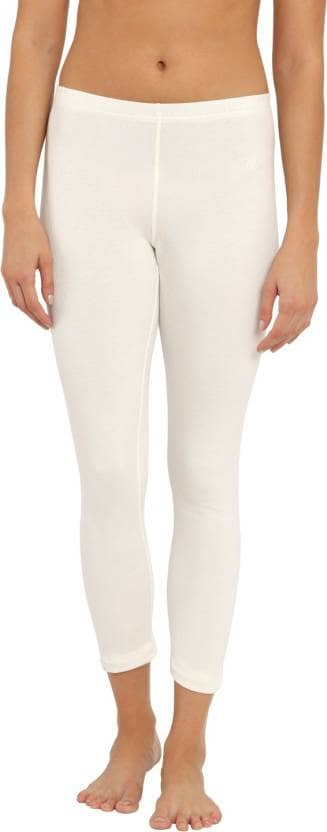 Jockey Womens Charcoal Melange Thermal Leggings (L,Off White)