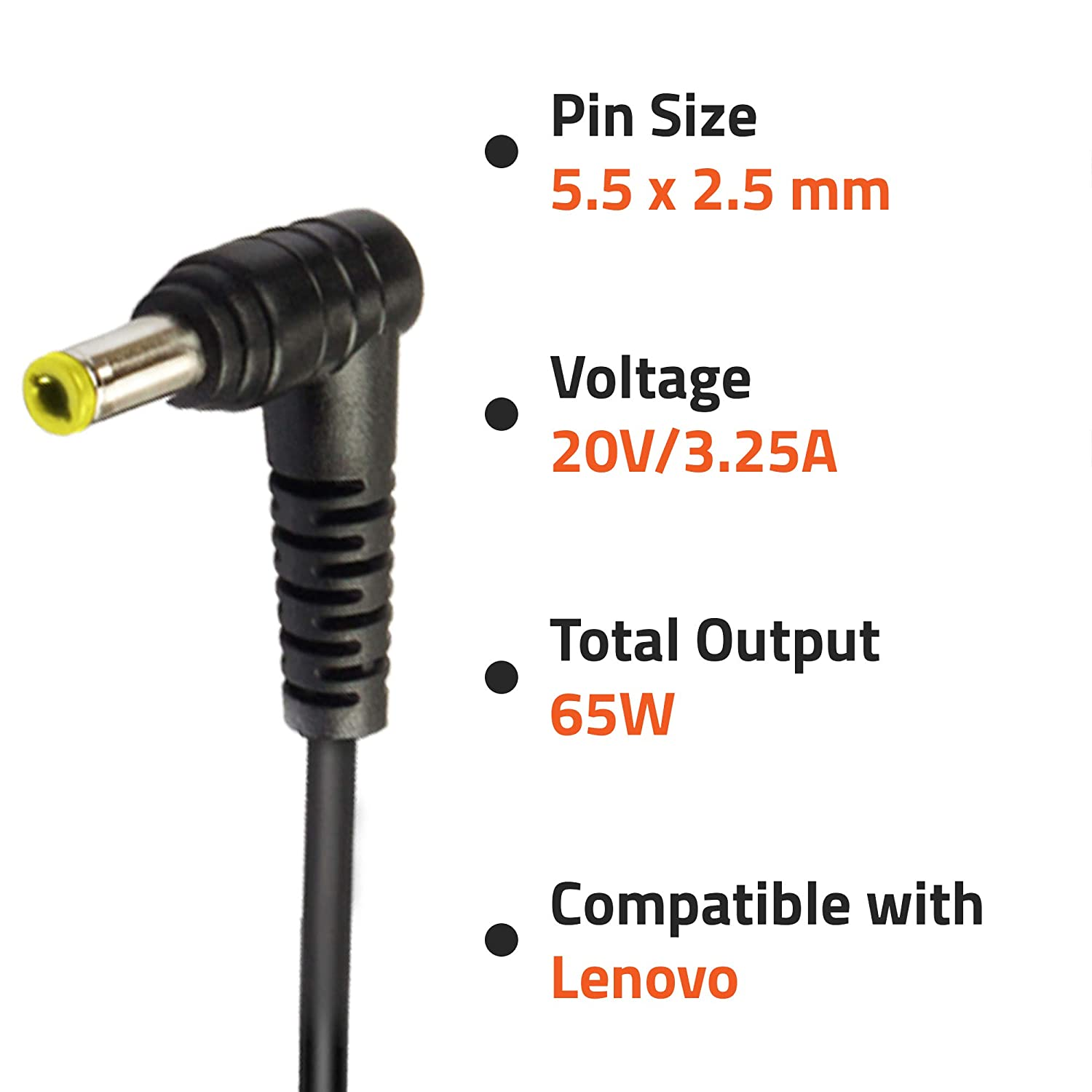 Artis AR0504 65Watt Laptop Charger/Adapter With Power Cord Compatible With Lenovo Laptops (20V/3.25A, 65Watt) (Pin Size: 5.5mm X 2.5mm)
