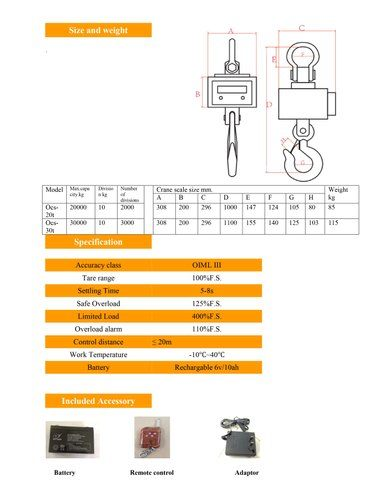 20 Ton X 10 Kg Crane Scale With Wireless Printer Indicator USB Pen Drive Rs232
