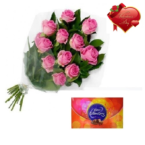 Valentines Day Gift Of Chocolate And Fresh Flower Bouquet Bunch Of 10 Pink Roses Ffcovd126 Mid Night 11pm 00am Chocolate Floral Fantasy Dlf New Town Bangalore Karnataka