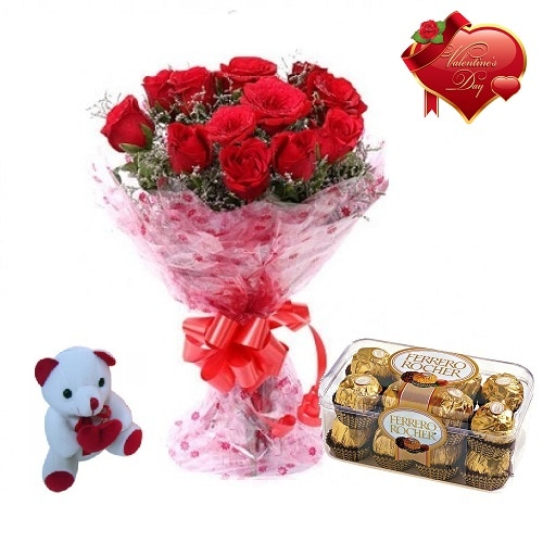 Valentines Day Gift Of Fresh Flower Bouquet Combo (Bunch Of 12 Red Roses) - FFCOVD150 (Morning (09AM,12PM))