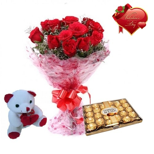 Valentines Day Gift Of Fresh Flower Bouquet Combo (Bunch Of 12 Red Roses) - FFCOVD145 (Morning (09AM,12PM))