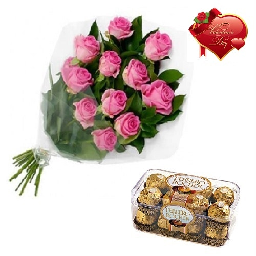 Valentines Day Gift Of Chocolate And Fresh Flower Bouquet (Bunch Of 10 Pink Roses) - FFCOVD121 (Morning (09AM,12PM))