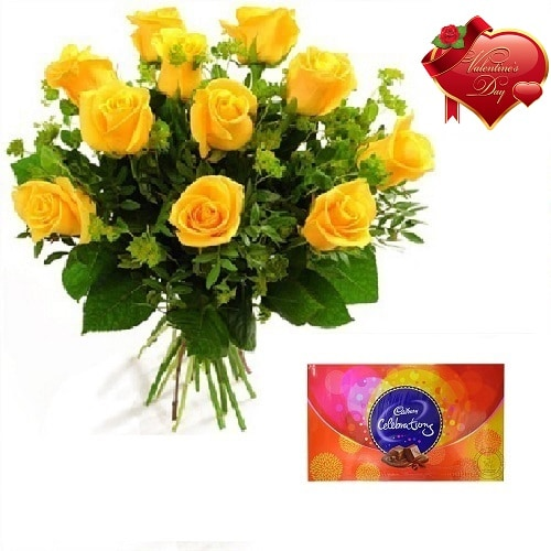 Valentines Day Gift Of Chocolate And Fresh Flower Bouquet (Bunch Of 10 Yellow Roses) - FFCOVD127 (Morning (09AM,12PM))