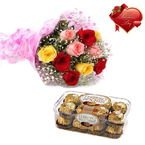 Valentines Day Gift Of Chocolate And Fresh Flower Bouquet (Bunch Of 10 Mix Roses) - FFCOVD119 (Morning (09AM,12PM))