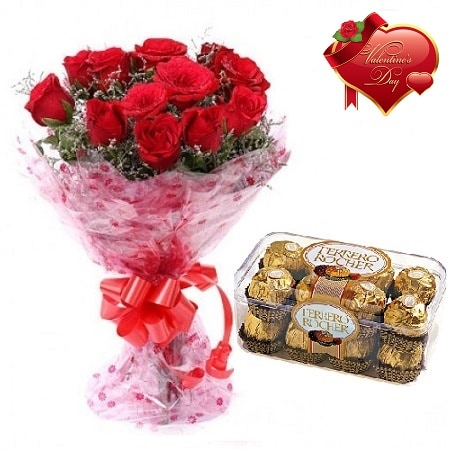 Valentines Day Gift Of Chocolate And Fresh Flower Bouquet (Bunch Of 10 Red Roses) - FFCOVD120 (Morning (09AM,12PM))