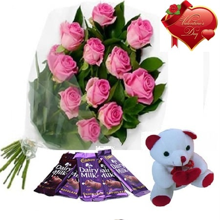 Valentines Day Gift Of Fresh Flower Bouquet Combo (Bunch Of 12 Pink Roses) - FFCOVD142 (Morning (09AM,12PM))