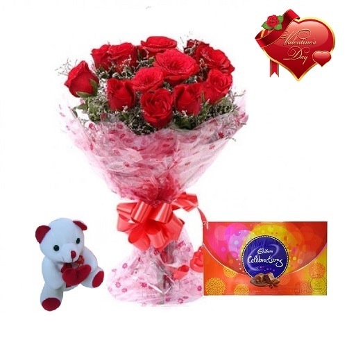 Valentines Day Gift Of Fresh Flower Bouquet Combo (Bunch Of 12 Red Roses) - FFCOVD149 (Morning (09AM,12PM))