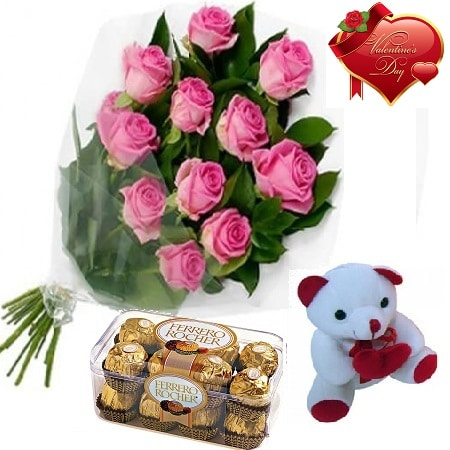 Valentines Day Gift Of Fresh Flower Bouquet Combo (Bunch Of 12 Pink Roses) - FFCOVD144 (Morning (09AM,12PM))