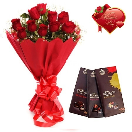 Valentines Day Gift Of Fresh Flower Bouquet Combo (Bunch Of 12 Red Roses) - FFCOVD146 (Morning (09AM,12PM))