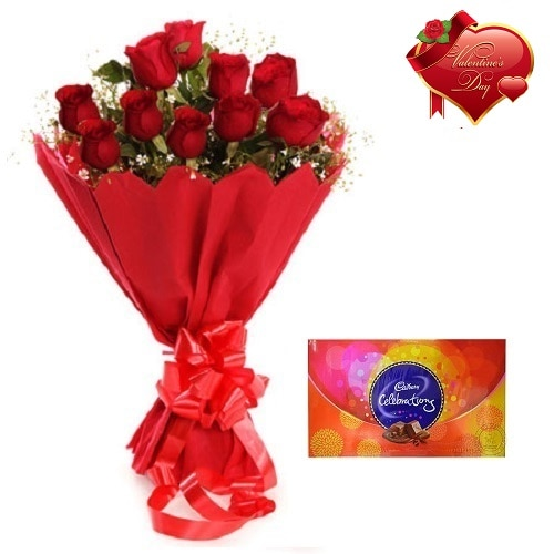 Valentines Day Gift Of Chocolate And Fresh Flower Bouquet (Bunch Of 10 Red Roses) - FFCOVD128 (Morning (09AM,12PM))