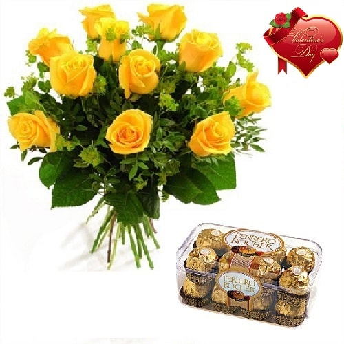 Valentines Day Gift Of Chocolate And Fresh Flower Bouquet (Bunch Of 10 Yellow Roses) - FFCOVD122 (Morning (09AM,12PM))