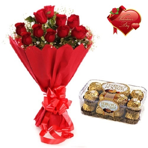 Valentines Day Gift Of Chocolate And Fresh Flower Bouquet (Bunch Of 10 Red Roses) - FFCOVD123 (Morning (09AM,12PM))