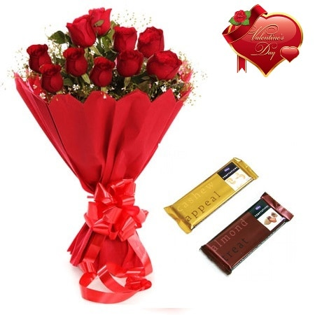 Valentines Day Gift Of Fresh Flower Bouquet Combo (Bunch Of 12 Red Roses) - FFCOVD152 (Morning (09AM,12PM))