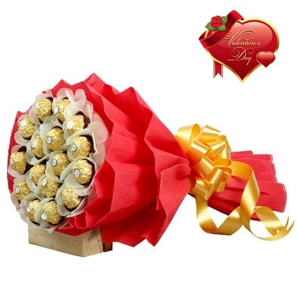 Valentines Day Gift Of FLORAL ARRANGEMENT WITH CHOCOLATE - FFCOVD140 (Morning (09AM,12PM))