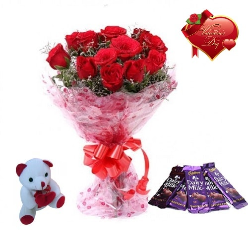 Valentines Day Gift Of Fresh Flower Bouquet Combo (Bunch Of 12 Red Roses) - FFCOVD148 (Morning (09AM,12PM))