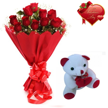 Valentines Day Gift Of Fresh Flower Bouquet Combo (Bunch Of 12 Red Roses) - FFCOVD154 (Morning (09AM, 12PM))