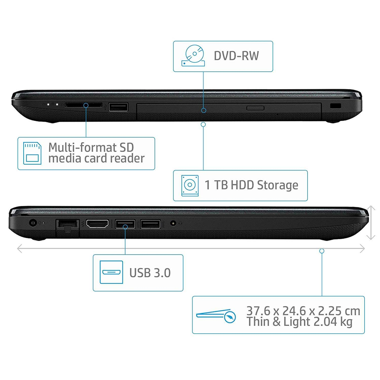 HP 15 AMD E2 15q-dy0001au 15.6- Entry Level Laptop (4GB 1TB HDD Windows 10 Home, Jet Black)