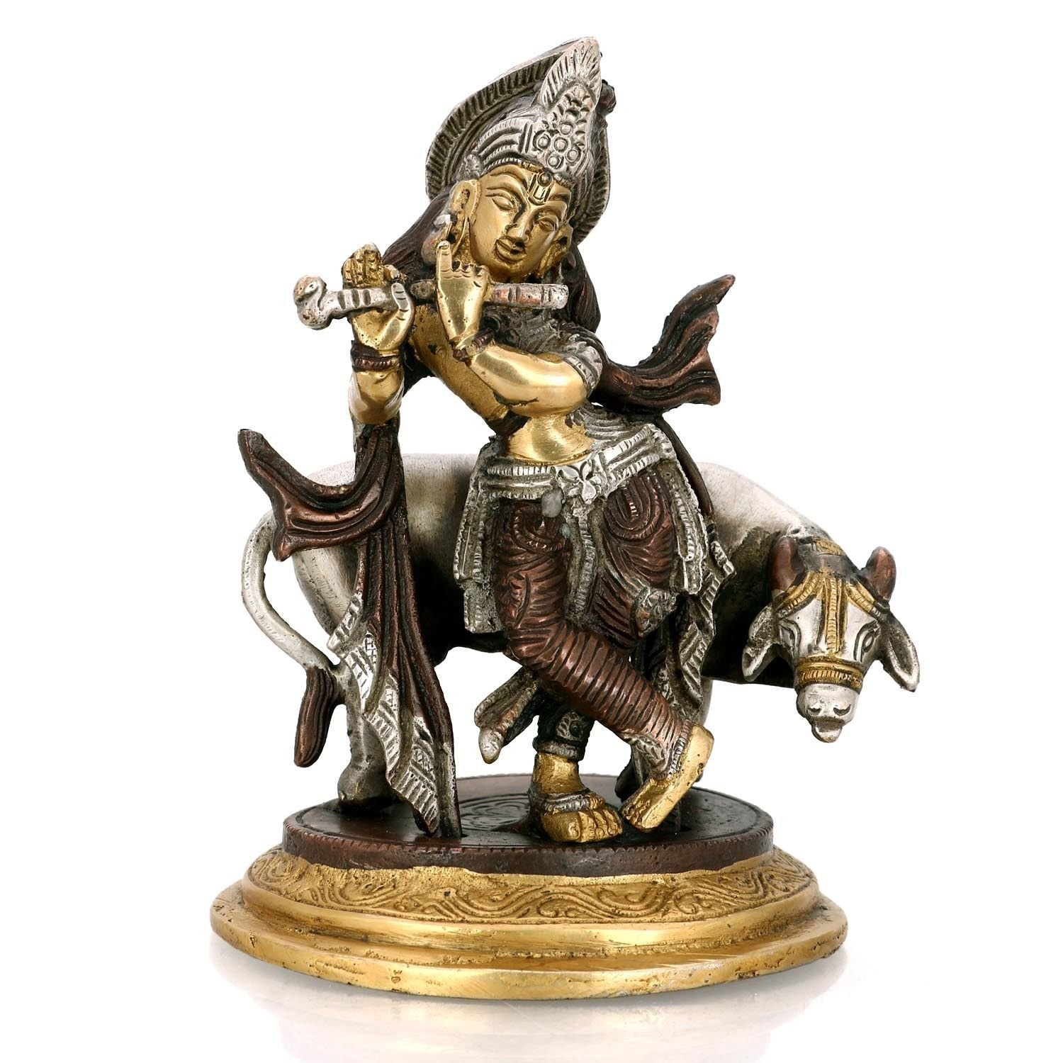 Beautiful Lord Krishna Playing Flute And Cow Brass Statue (KBS106)