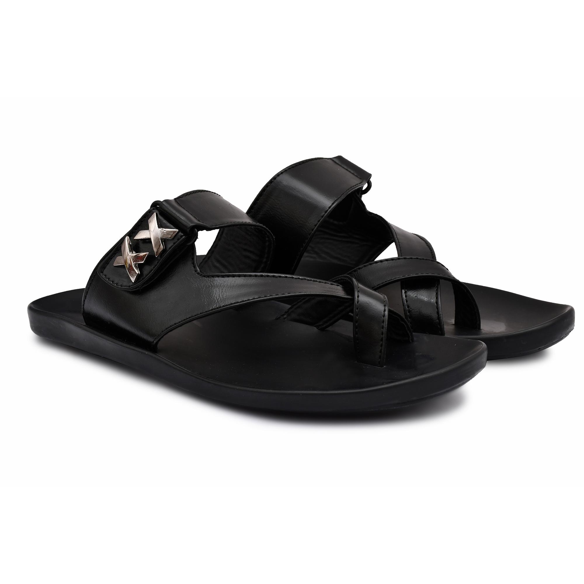 Trendy Stylish Men's Slippers Chappals 102_MALE_CHAPPAL_BLACK_4_A (BLACK, 7 to 10, PAIR'S)