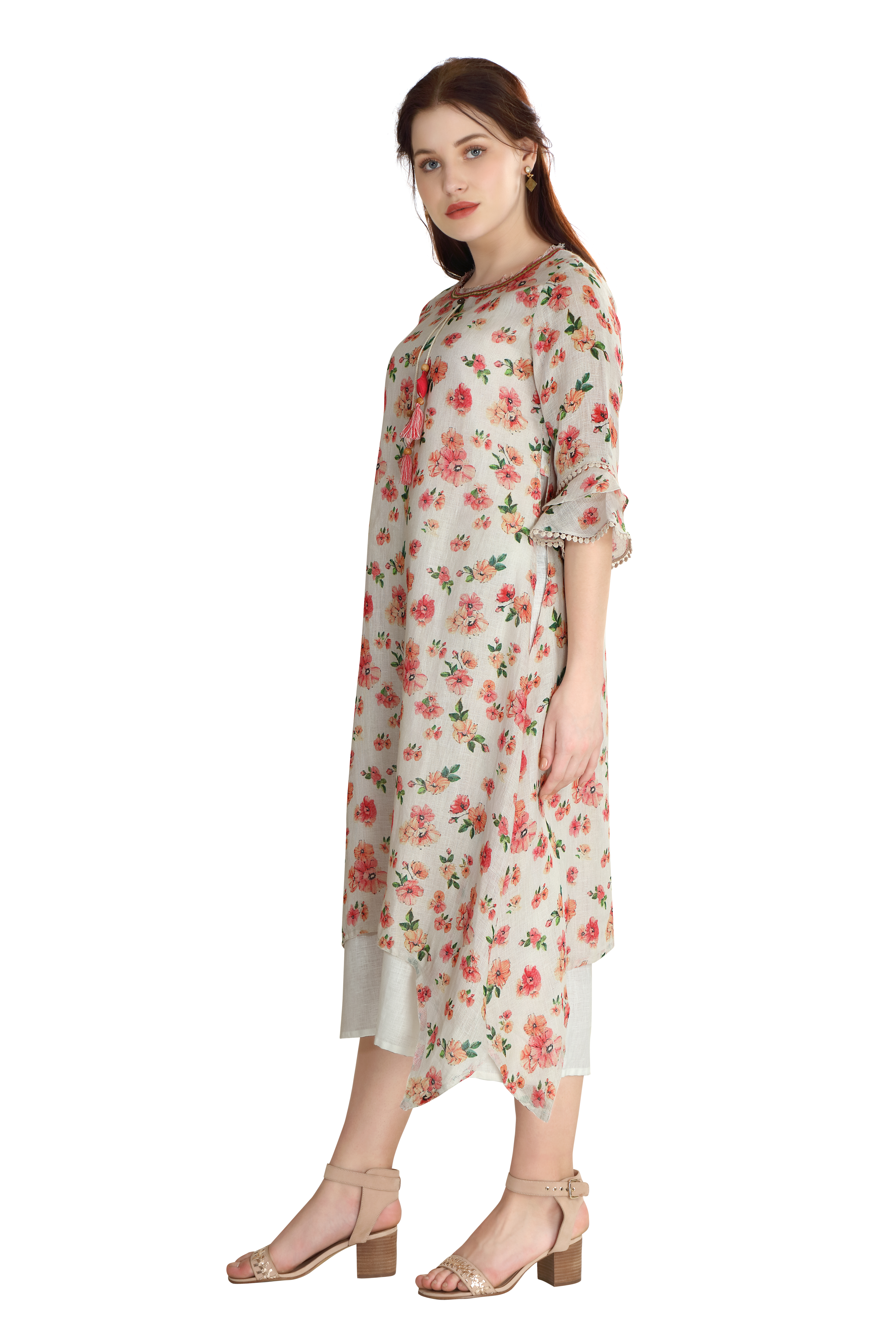 202104 Pink Ditsy Printed Double Layered Linen Dress (S,Pink)