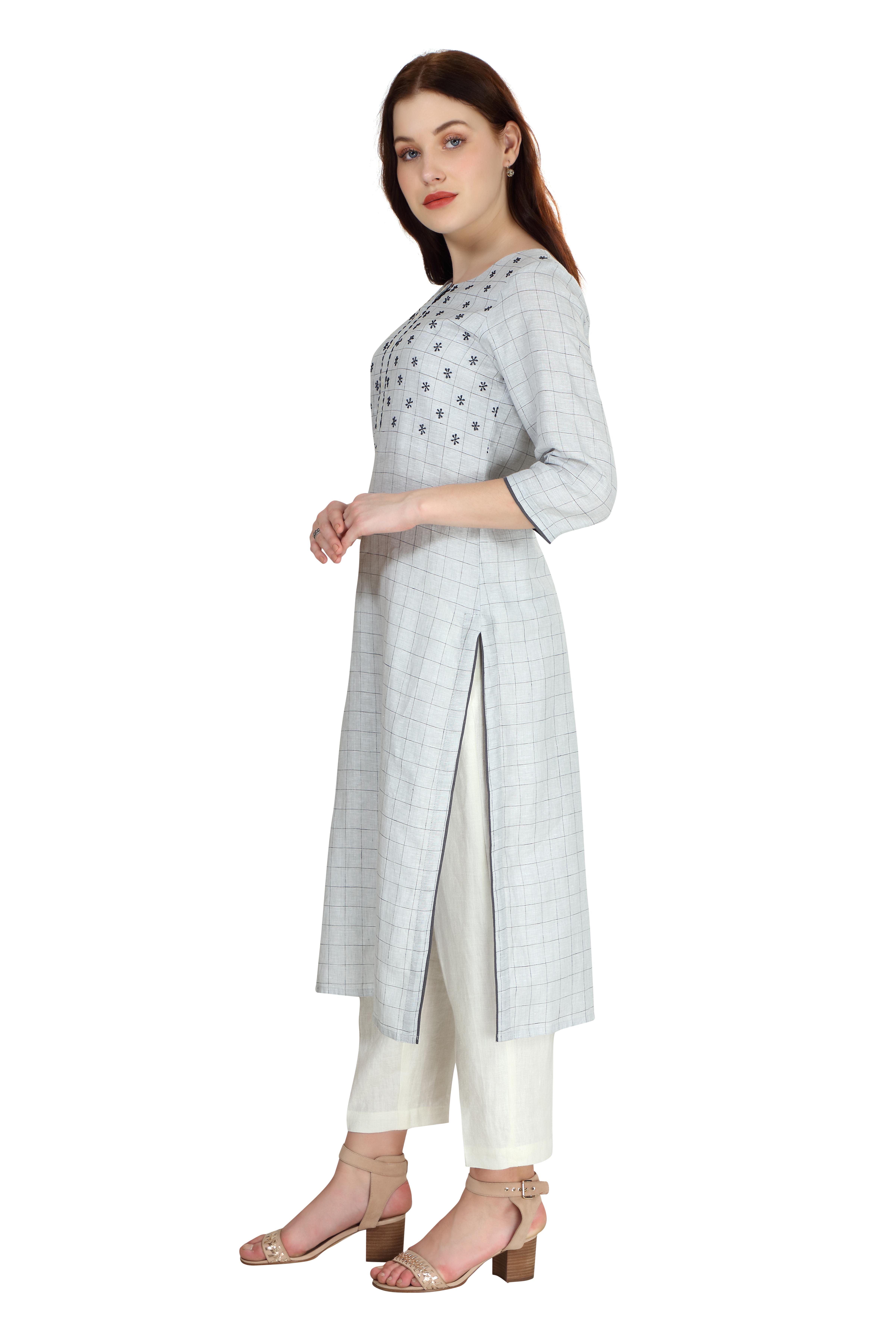190253 Grey Linen Tunic (XL,Grey)