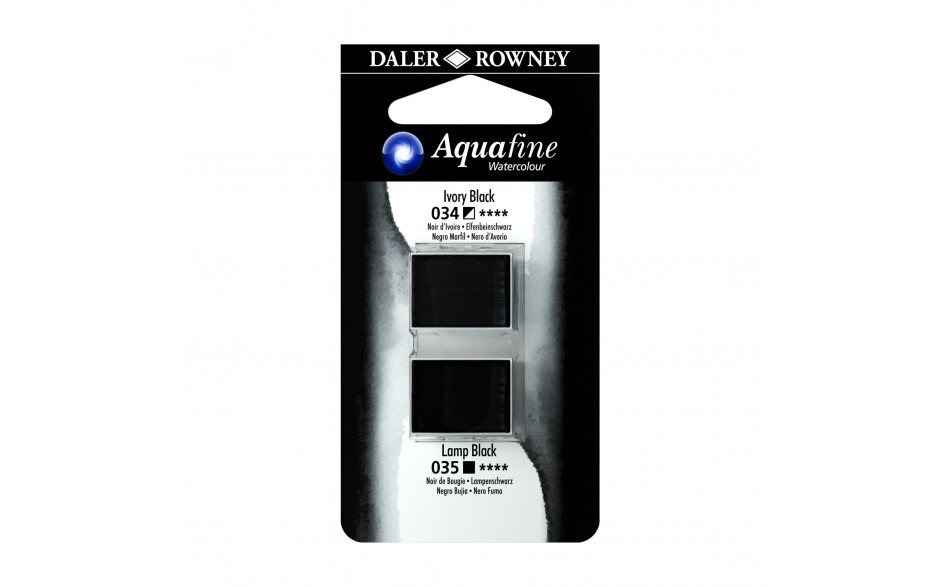 Daler-Rowney Aquafine Watercolour - Half Pan Twin Set - Ivory Black/Lamp Black