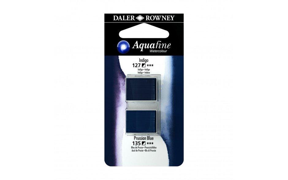 Daler-Rowney Aquafine Watercolour - Half Pan Twin Set - Indigo/Prussian Blue