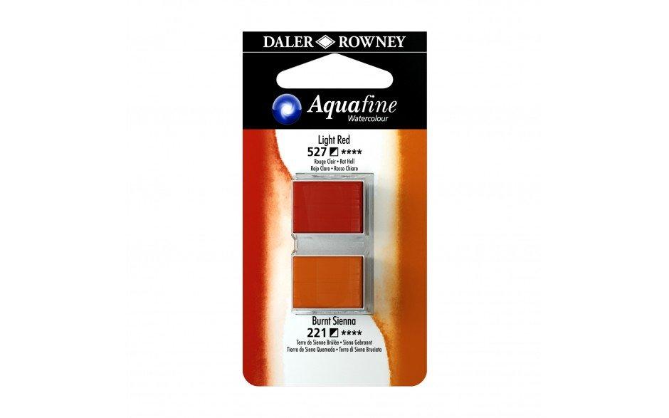 Daler-Rowney Aquafine Watercolour - Half Pan Twin Set - Light Red/Burnt Sienna