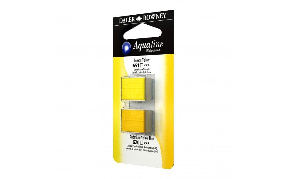 Daler-Rowney Aquafine Watercolour - Half Pan Twin Set - Lemon Yellow/Cadmium Yellow Hue