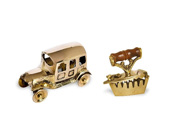 Tiny Souls Home Miniature Brass Combo Of Jeep Small + Iron Toy. (Gold)