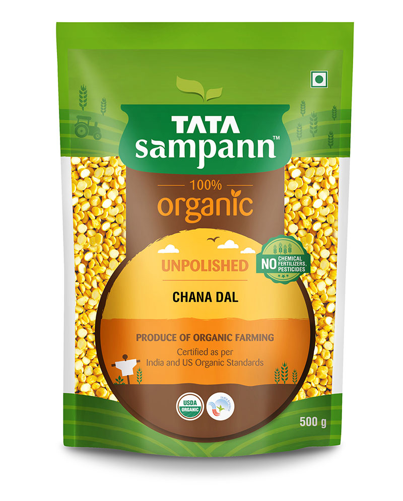 Tata Sampann 100% Organic Unpolished Chana Dal : 1 Kg