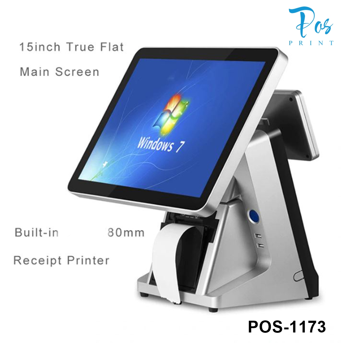 POSPRINT Point Of Sale System 15 Inch Led Touch Screen Capacity Pos System Window 7 With Inbuilt 80mm Printer