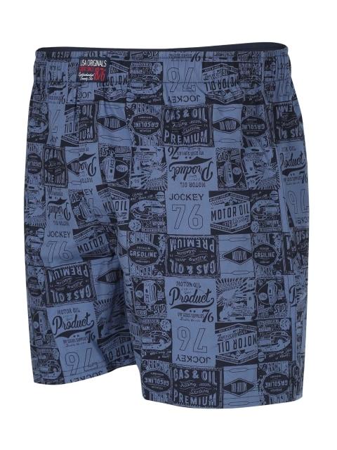 Jockey Men's Printed Boxer (XL,Blue)