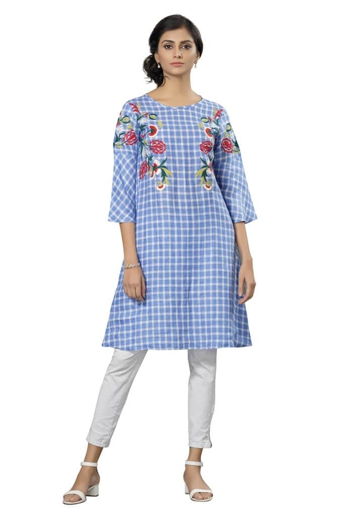 170585 Checkered Blue Embroidery Tunic (XL,Blue)