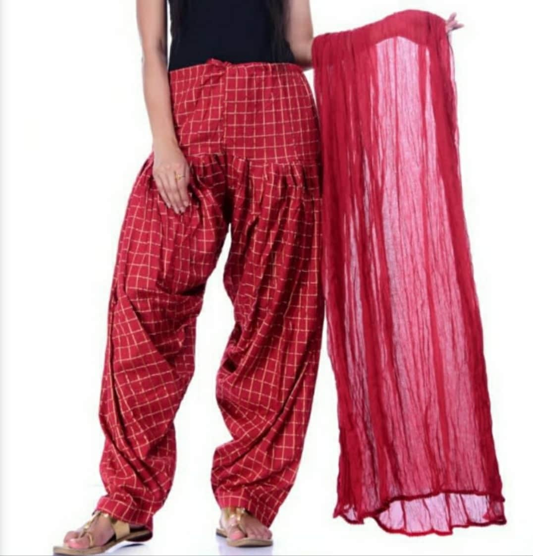 Samridhi Collections Combo Of Women's Cotton Check Print Patiala And Dupptta (Maroon)