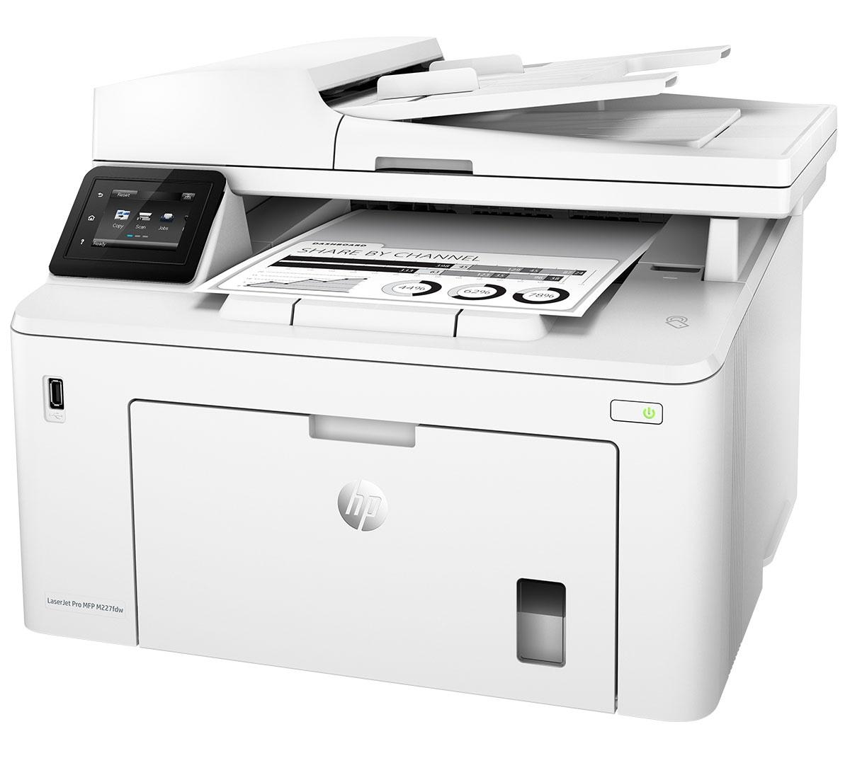 HP G3Q75A LaserJet Pro MFP M227fdw Multi-Function Print Color Laser Printer