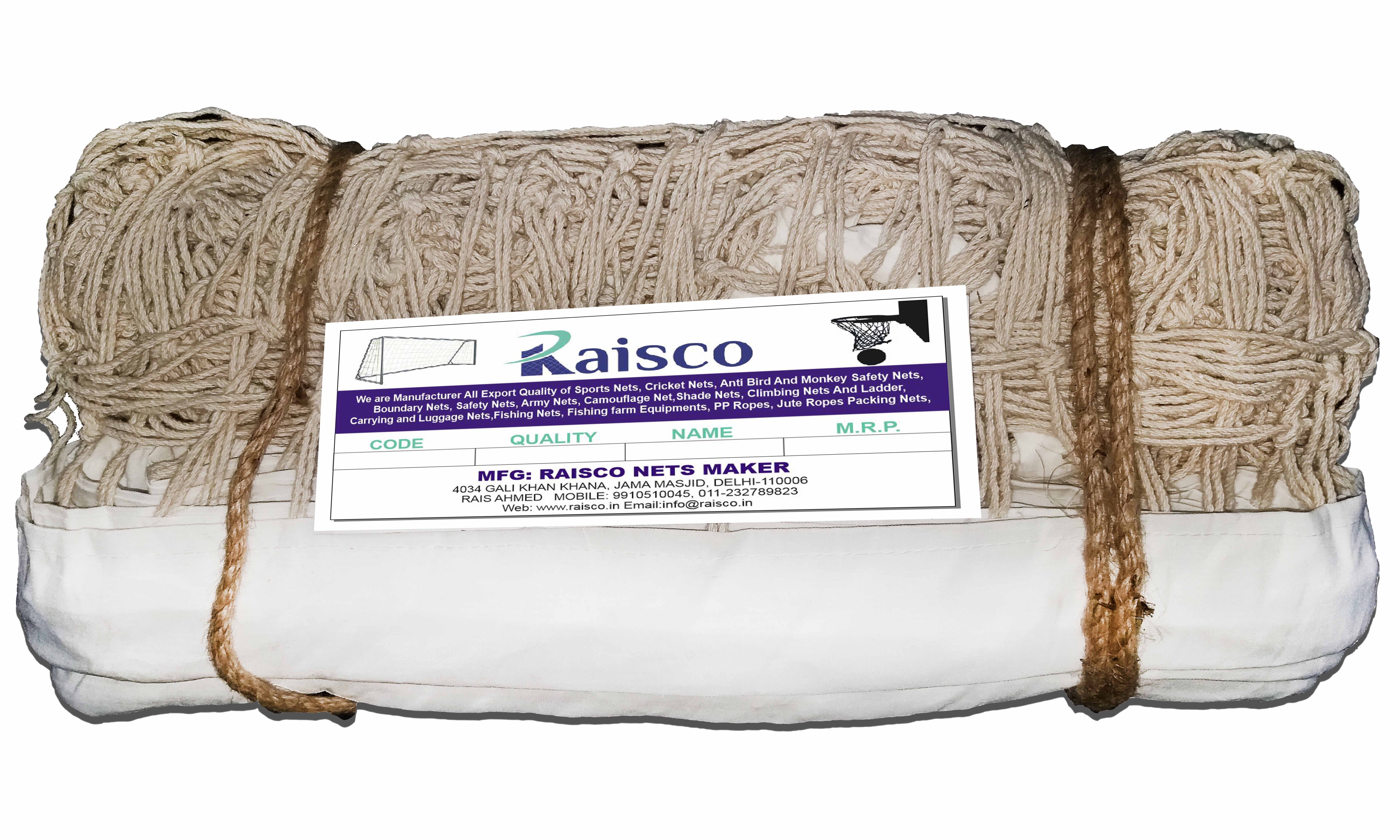 Raisco  Machine Twisted Niwar Tape, Manila Rope Single Volleyball Net