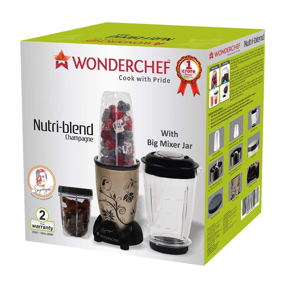 Wonderchef Nutri-Blend Mixer With 3 Jars (Champagne/Black)