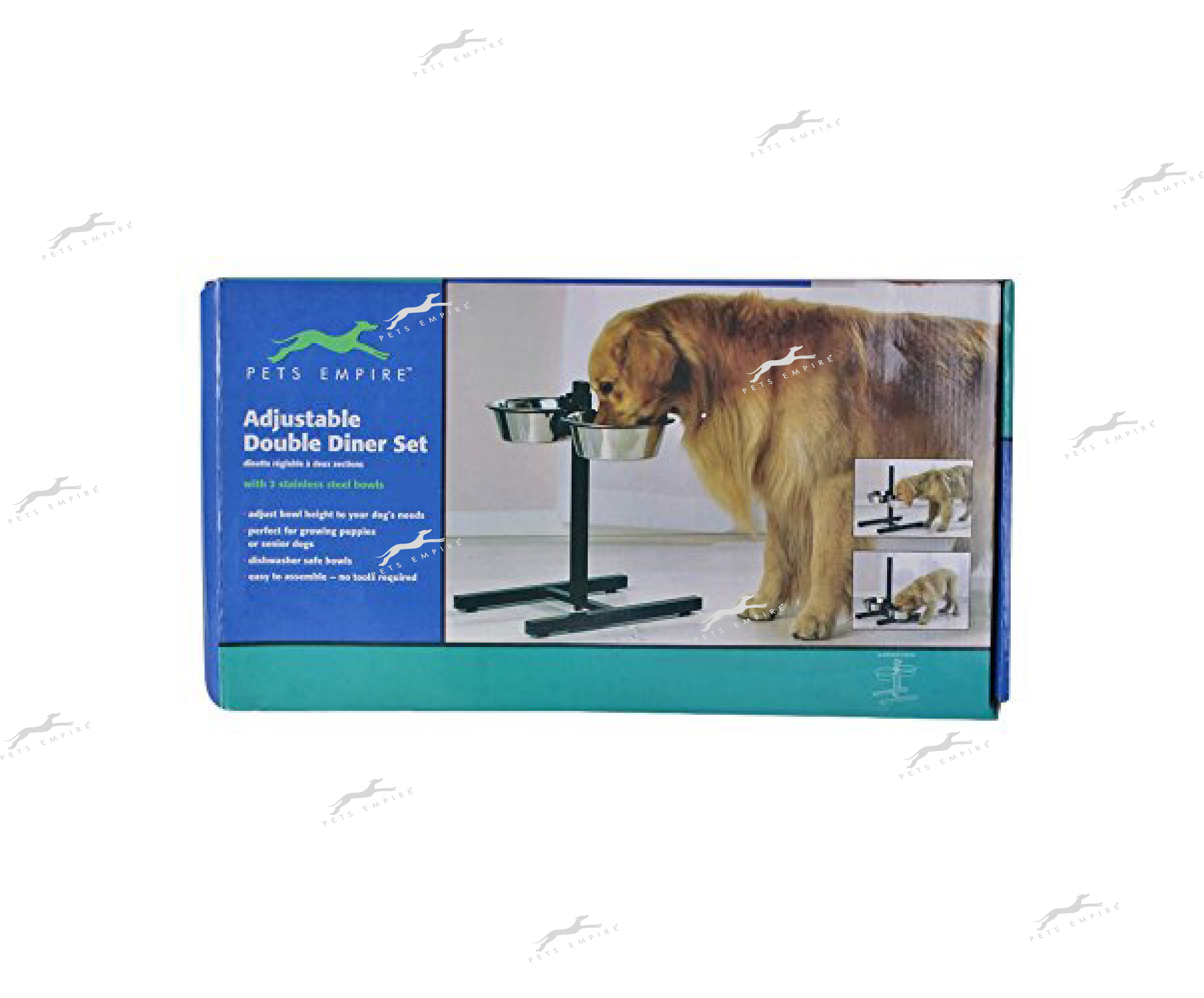 Pets Empire Dog Bowl Adjustable Stand With 2 Piece Bowl With Stand Steel Bowl,Pack Of 1 (small 900 ml x 2)