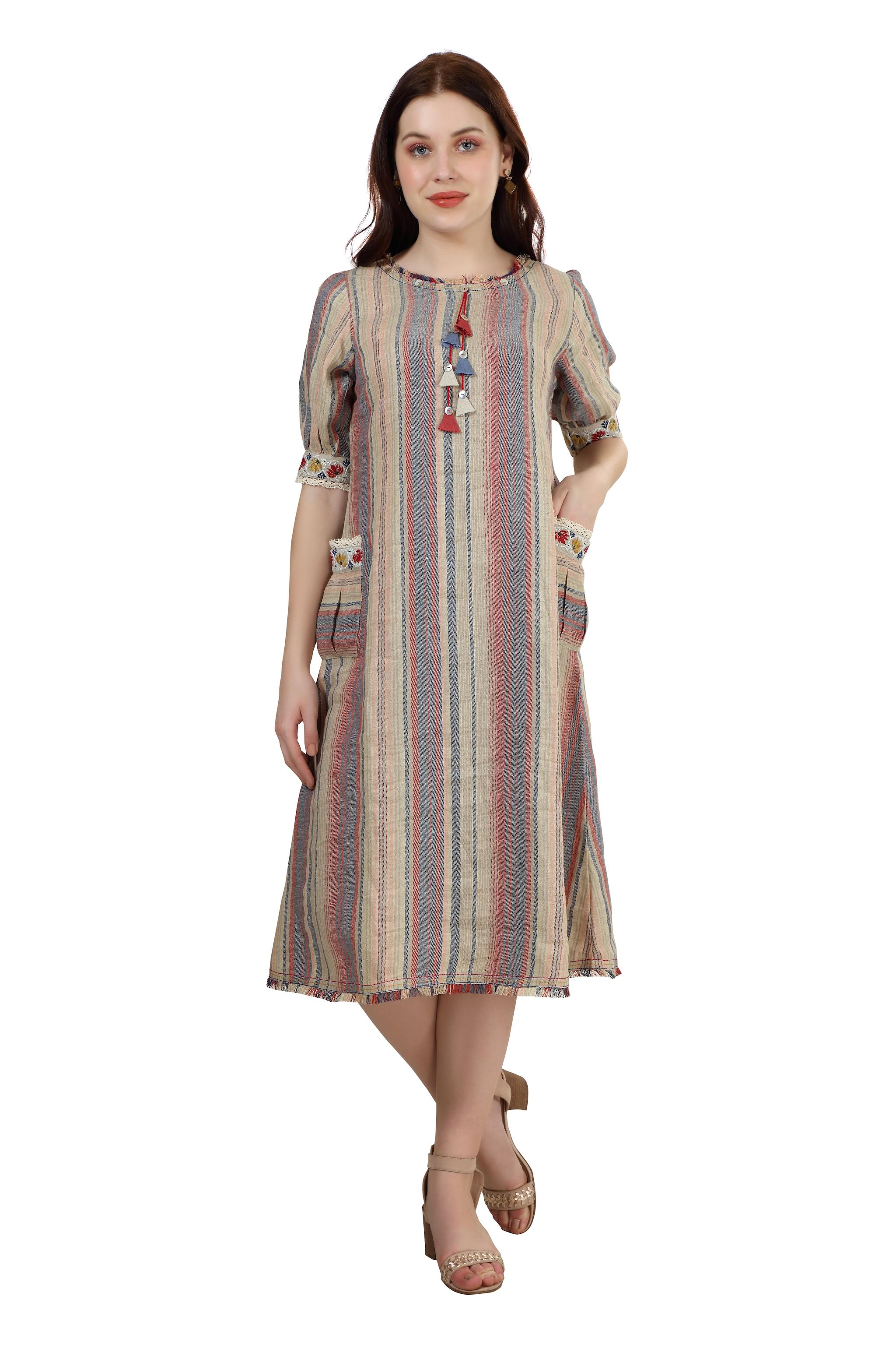 202029 Berry Woven Stripe Twin Pocket Linen Dress (XS,Berry)