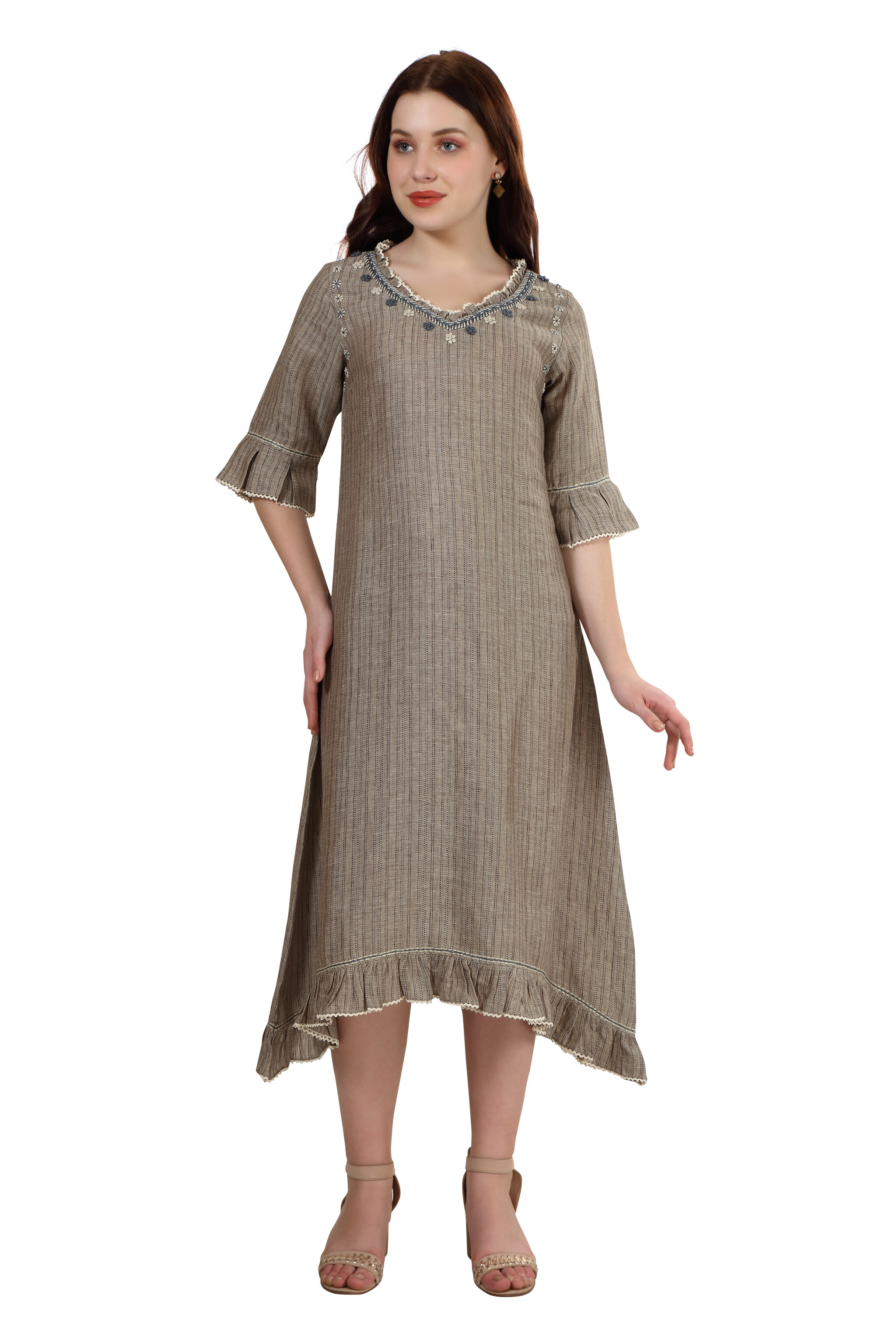 202013 Dark Natural Asymmetrical Linen Dress (XS,Dark Natural)