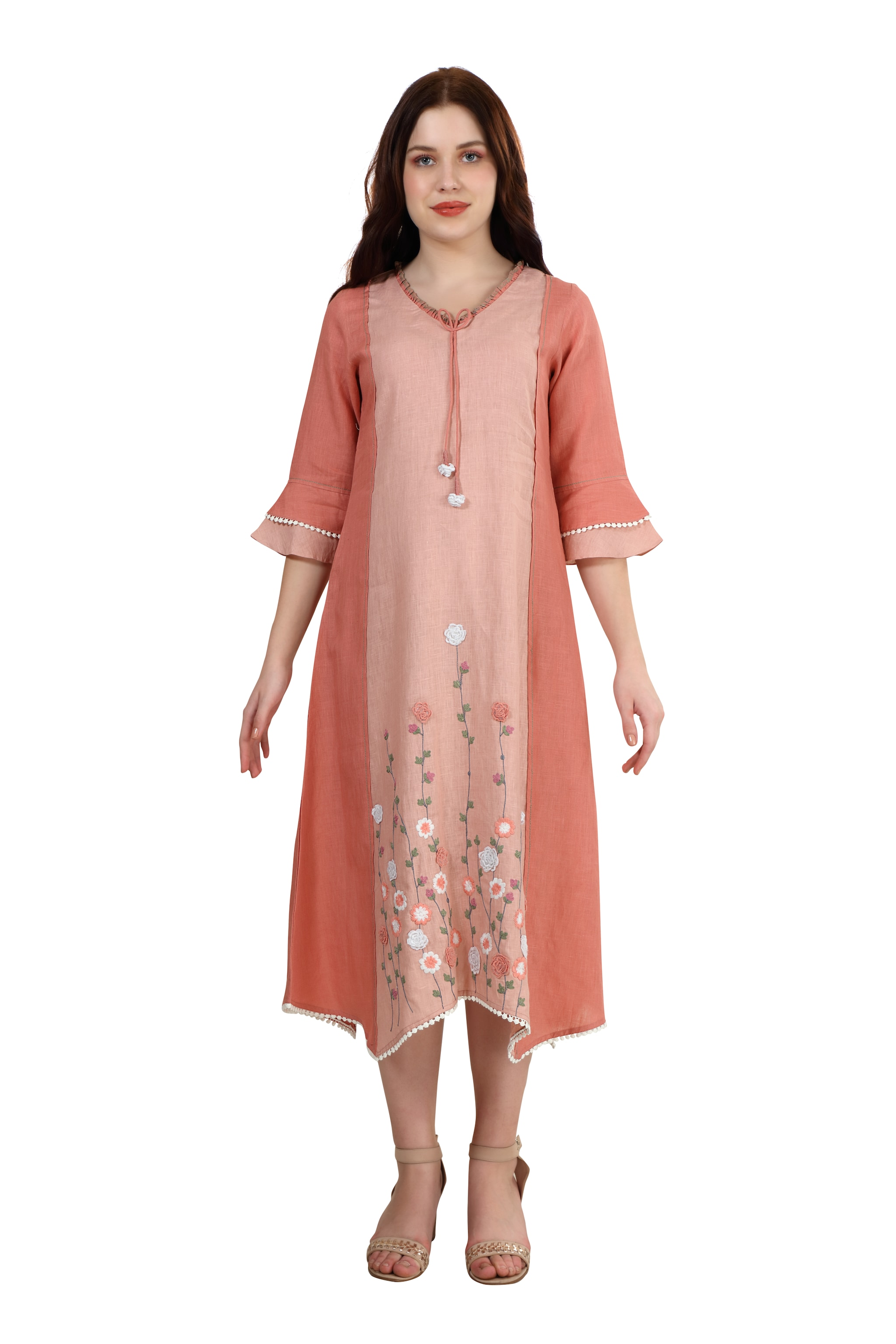 202088 Shades Of Rose Engineered Embroidery Linen Dress (XS,Rose)