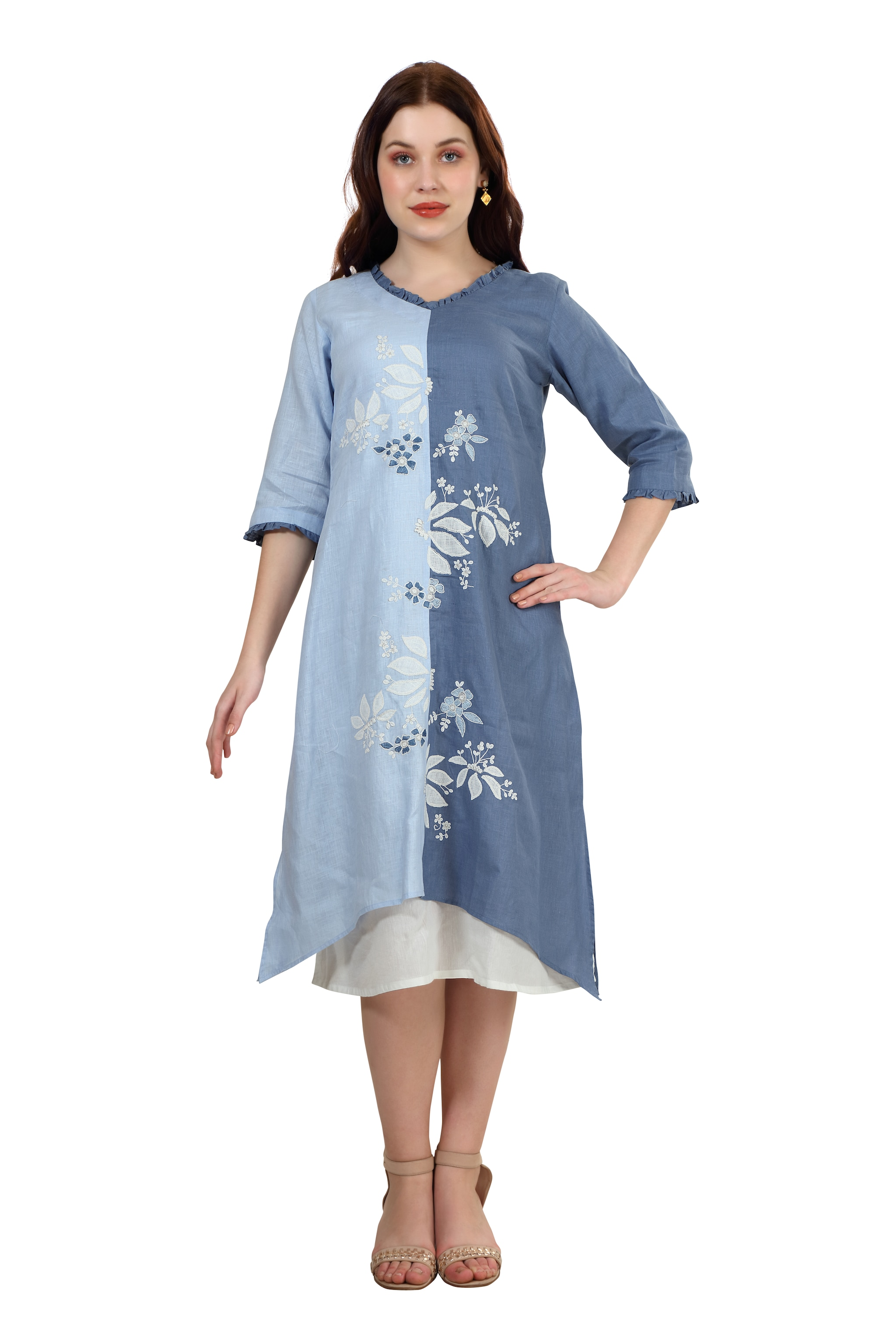 202031 Shades Of Blue Embroidered Linen Dress (XS,Blue)
