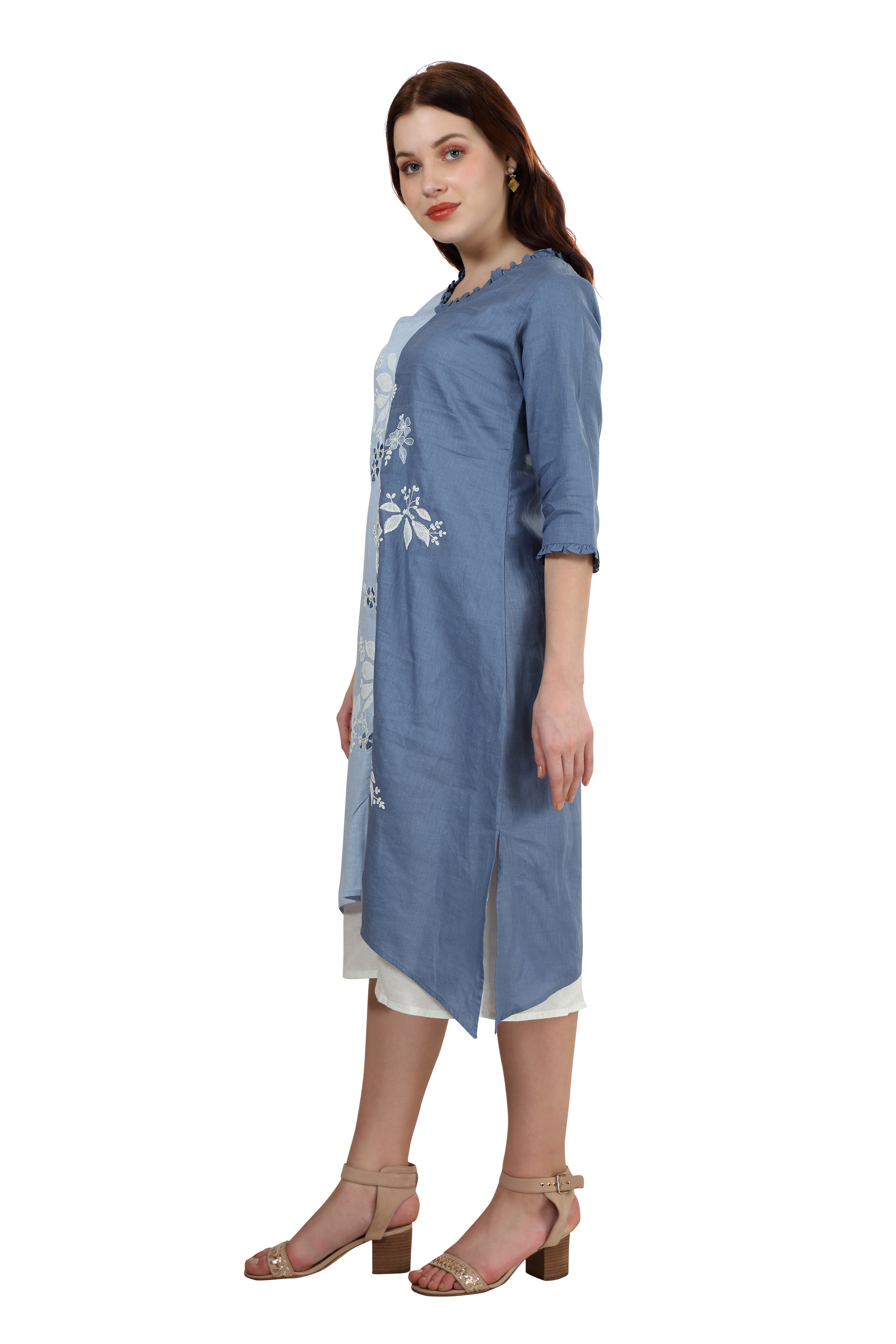 202031 Shades Of Blue Embroidered Linen Dress (M,Blue)