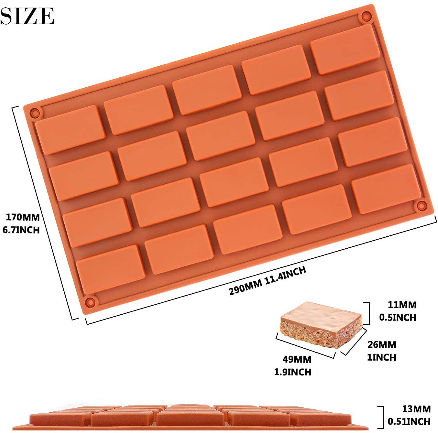 20 Cavities Rectangle Silicone Mold Caramel Candy Chocolate Truffles, Jelly, Praline, Ice Cube Cake Mold - Divena In