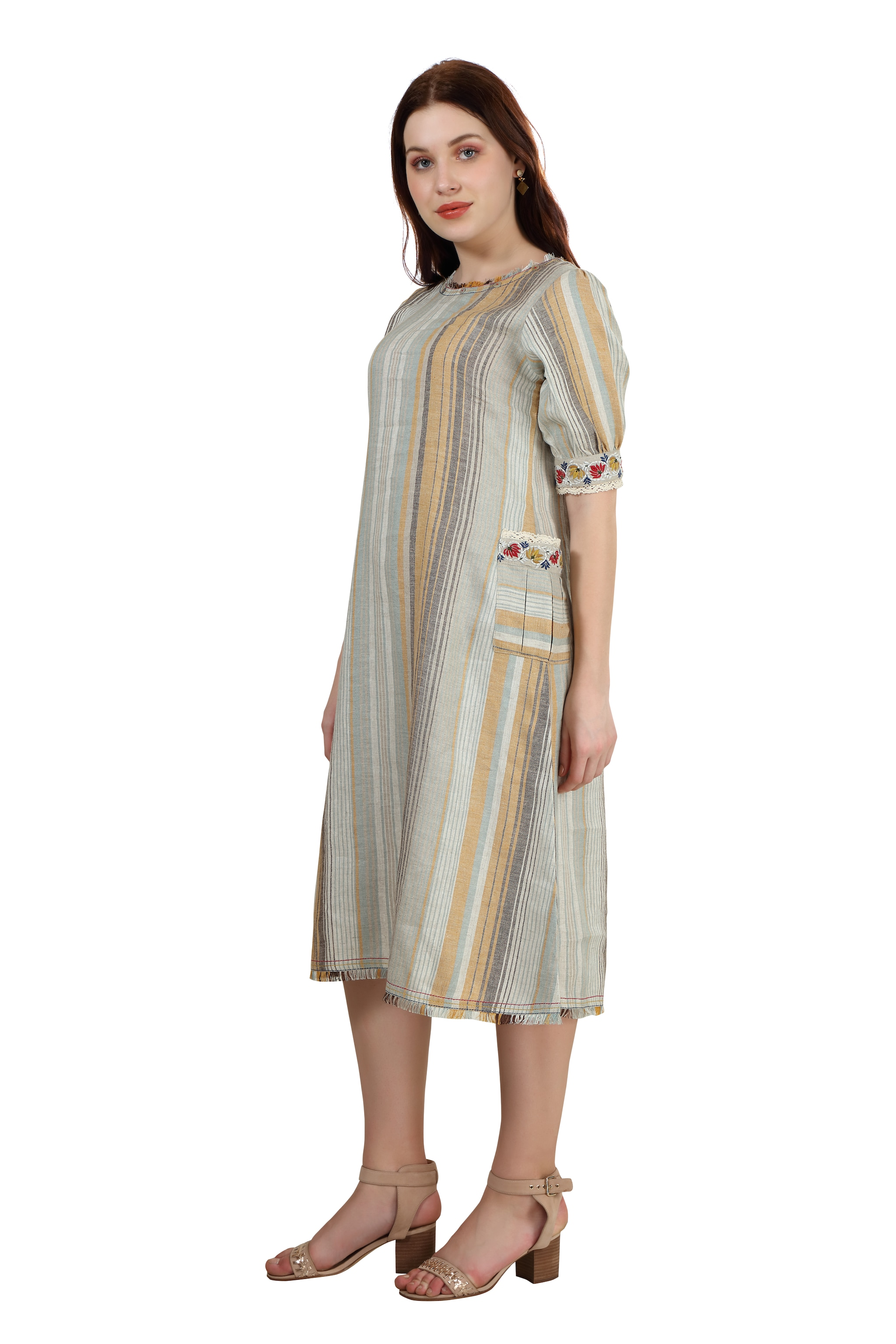 202029 Mustard Woven Striped Twin Pocket Linen Dress (XS,Mustard)