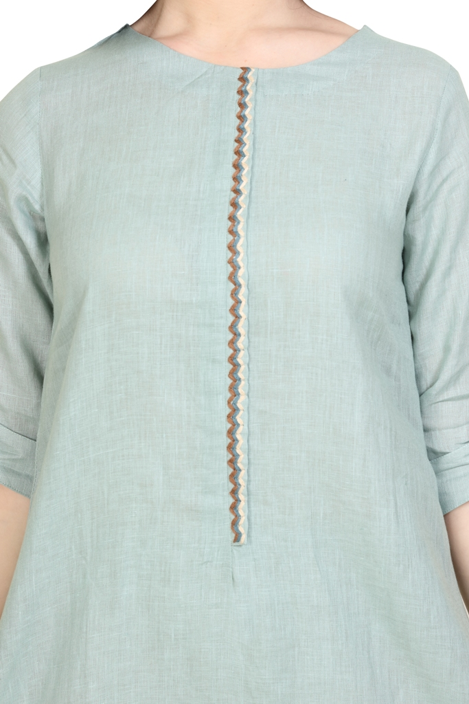 180916 Duck Egg Solid Linen Tunic With Embroidered Placket XS - Duck Egg (L,Duck Egg)