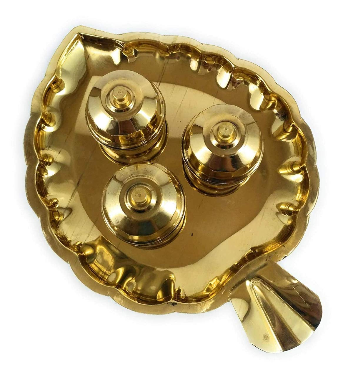 Divine Traditional Handcrafted Brass Thali Kumkum Plate For Pooja/Worship 3 Bowl -Big Leaf