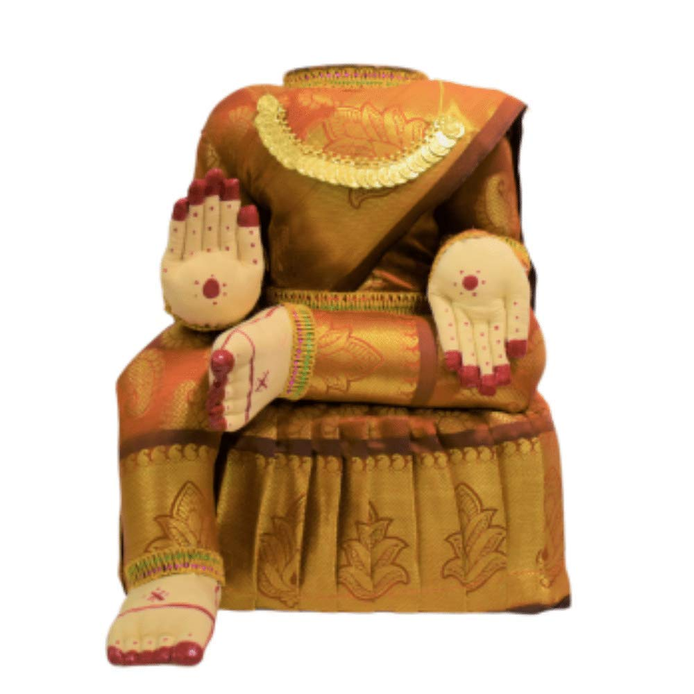 Divine Goddess Varalakshmi Nombu/Viradham/Pooja Decorative Doll With Chain | Inner Copper Coated Kalasa | Height: 12 Inches | Pack Of 1 Doll | Colour May Vary